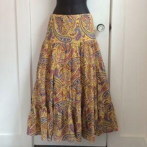 Vintage Ralph Lauren paisley prairie maxi skirt